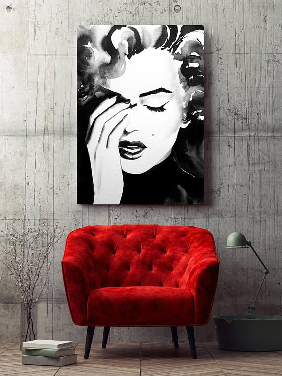 Old Hollywood 1950s Icon Art Print Watercolor Painting Black and White Retro Salon Decor Hair Ideas #hollywoodicons