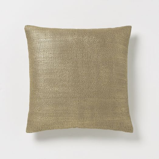 Metallic Brush Pillow Cover – Gold   west elm