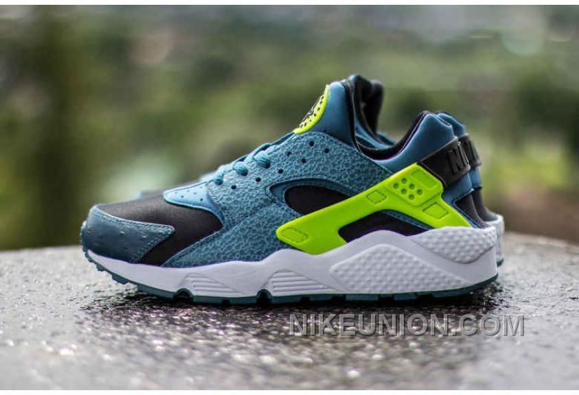 Nike Air Huarache Black Space Blue Volt New Basketball Shoes