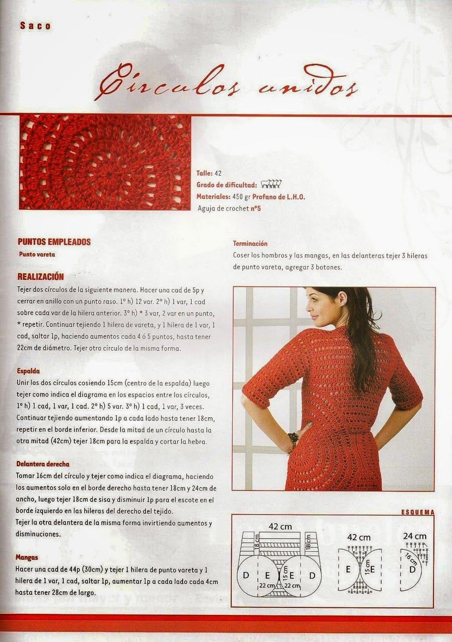 Crochet y dos agujas: Saco de círculos unidos al crochet - patrones en español