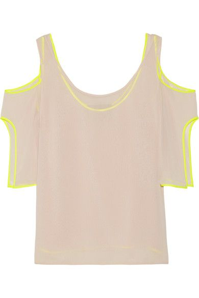 Jason Wu Woman Cold-shoulder Silk Satin-trimmed Georgette Top Pastel Pink Size 4 Jason Wu Cheap Price Low Shipping Fee Countdown Package Online Sale Visit nEa344ogi