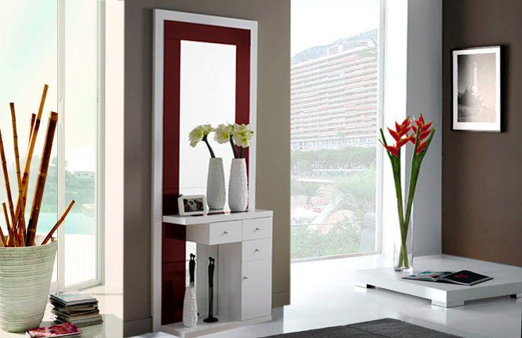 Mueble para recibidor con espejo muebles pantone marsala for Mueble para recibidor