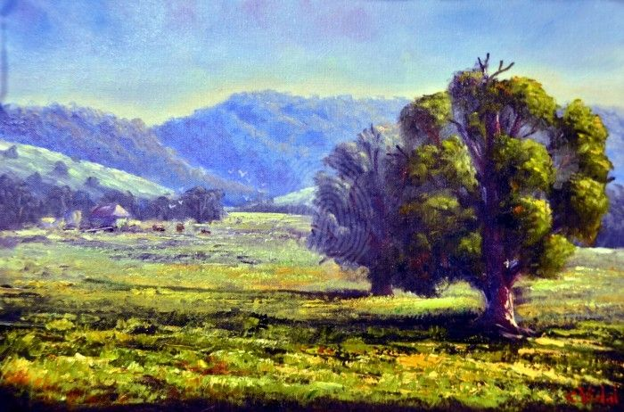 AUSTRALIAN FARMS 2 by Christopher Vidal. Oil on Canvas board $325 available to buy at: http://www.bluethumb.com.au/christophervidal/Artwork/Australian-Farms-2  #art #farm #painting #australia #tree #realist