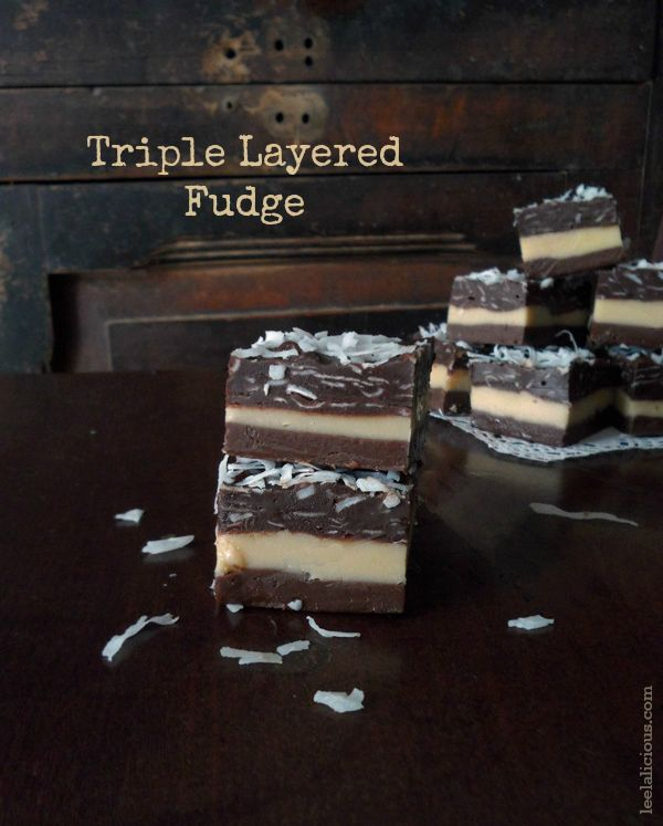 Triple Layered Chocolate Fudge Sweetened Condensed Milk Recipe Mocha Milk Chocolate Layer Pe With Images Candy Recipes Sweet Desserts Sweetened Condensed Milk Recipes