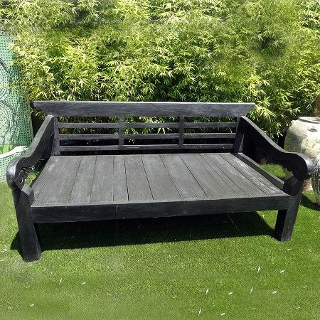 Beautiful Black Finish Balinese Teak Daybed For Indoor Or Outdoor