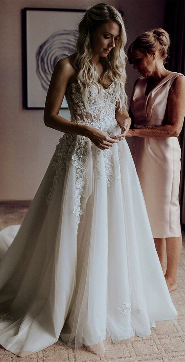 Photo of vintage a line long wedding dresses with appliques cheap sweetheart spring brida …
