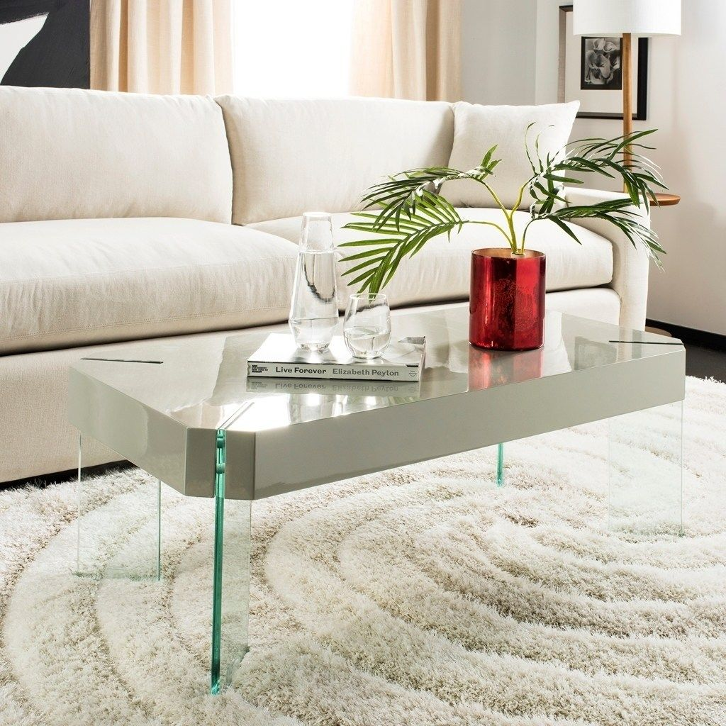 Safavieh Katelyn Grey Glass Coffee Table 43 3 X 23 6 X 15 7 Gray Coffee Table Grey Coffee Table Design Grey Wood Coffee Table