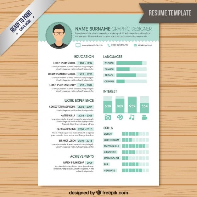 resume graphic designer template free vector