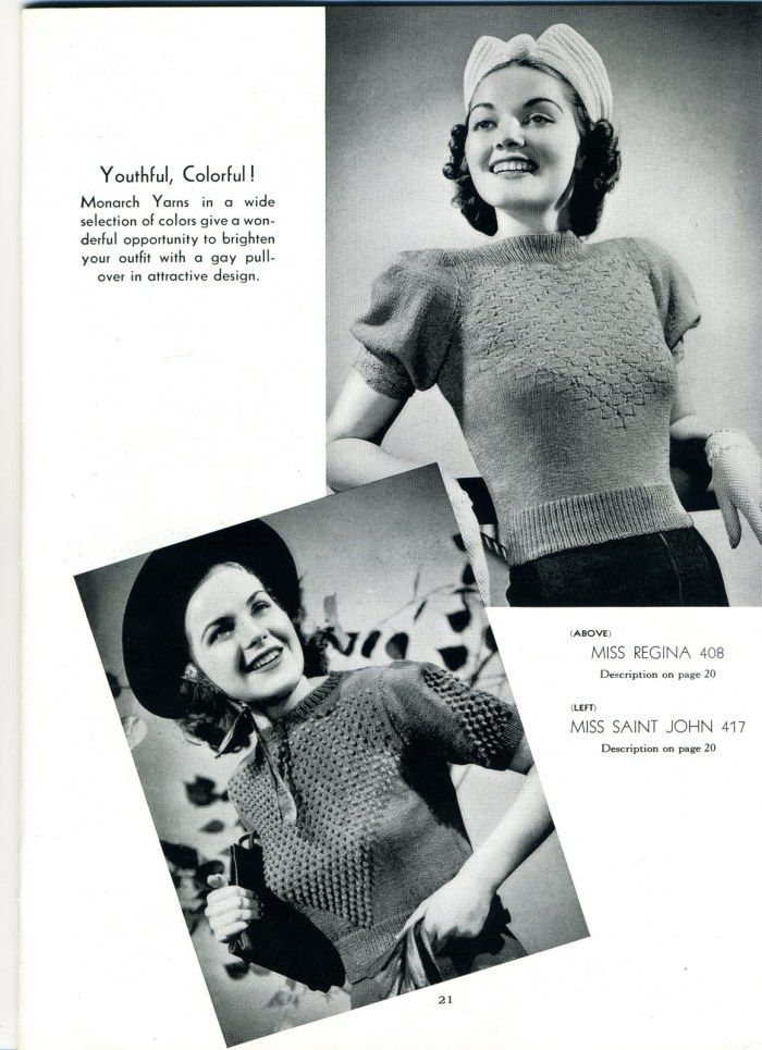 1940s sweater pattern from made-it-in-vintage via The Vintage Pattern Files