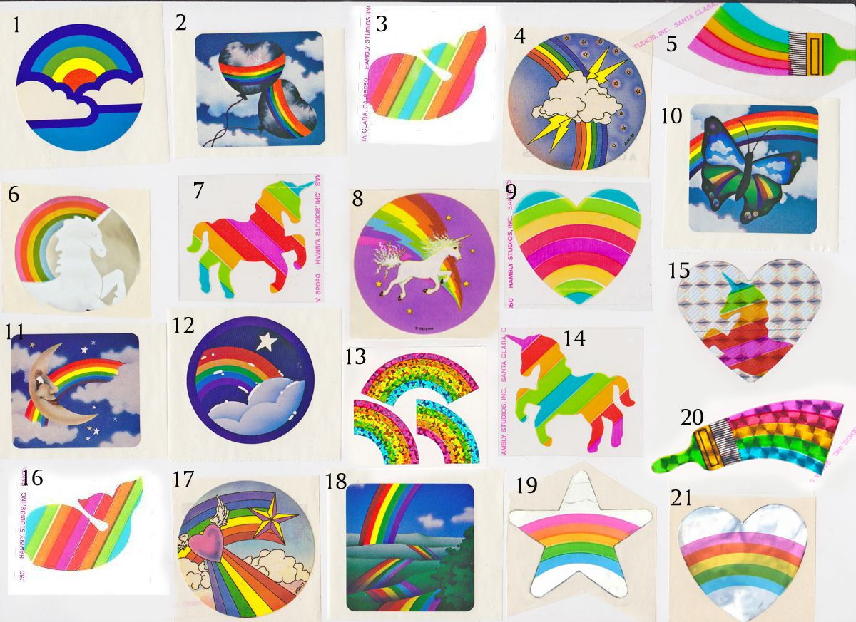 Vintage 80's rainbow stickers for sale on our website. Freelance, Hambly  Studios, Pacific
