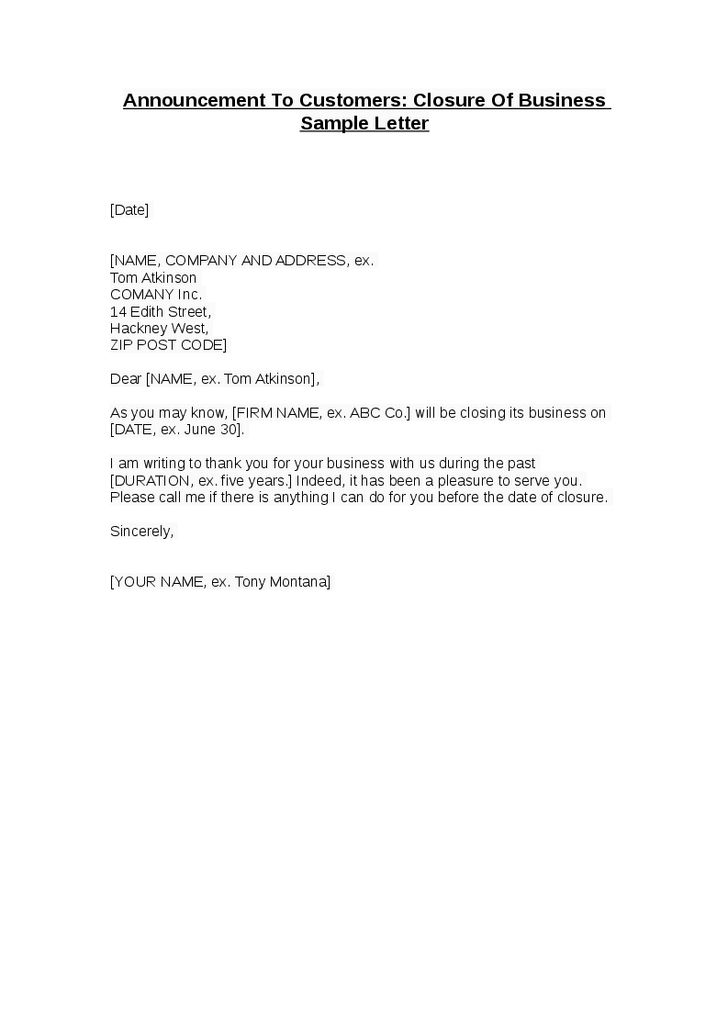Business Closure Letter Customers Best Examples Doc Closing