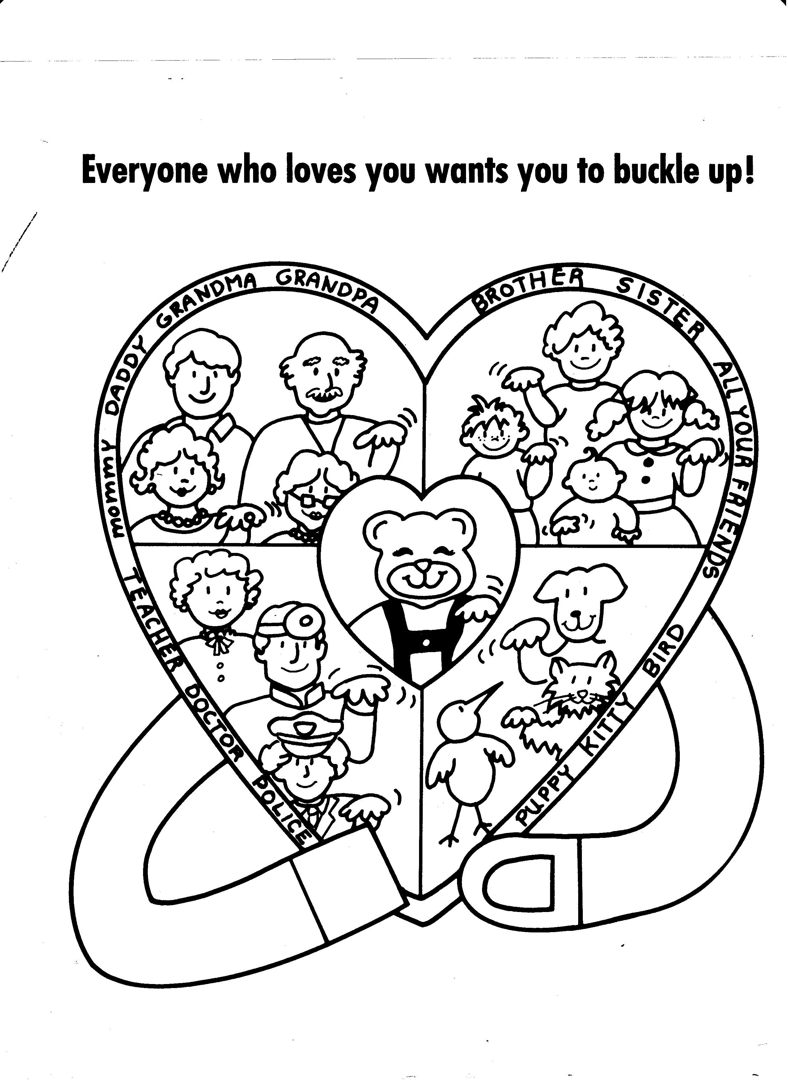 Seat Belt Safety Coloring Page Early Childhood