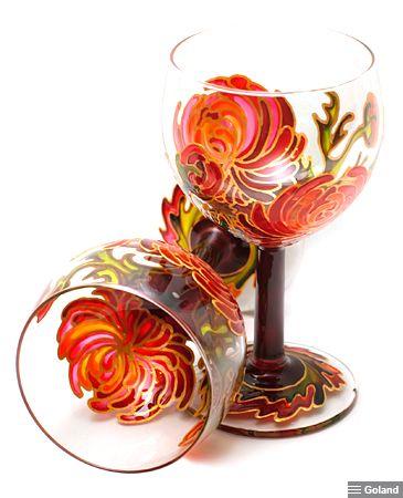 Роспись по стеклу. Пара бокалов «Хризантемы».