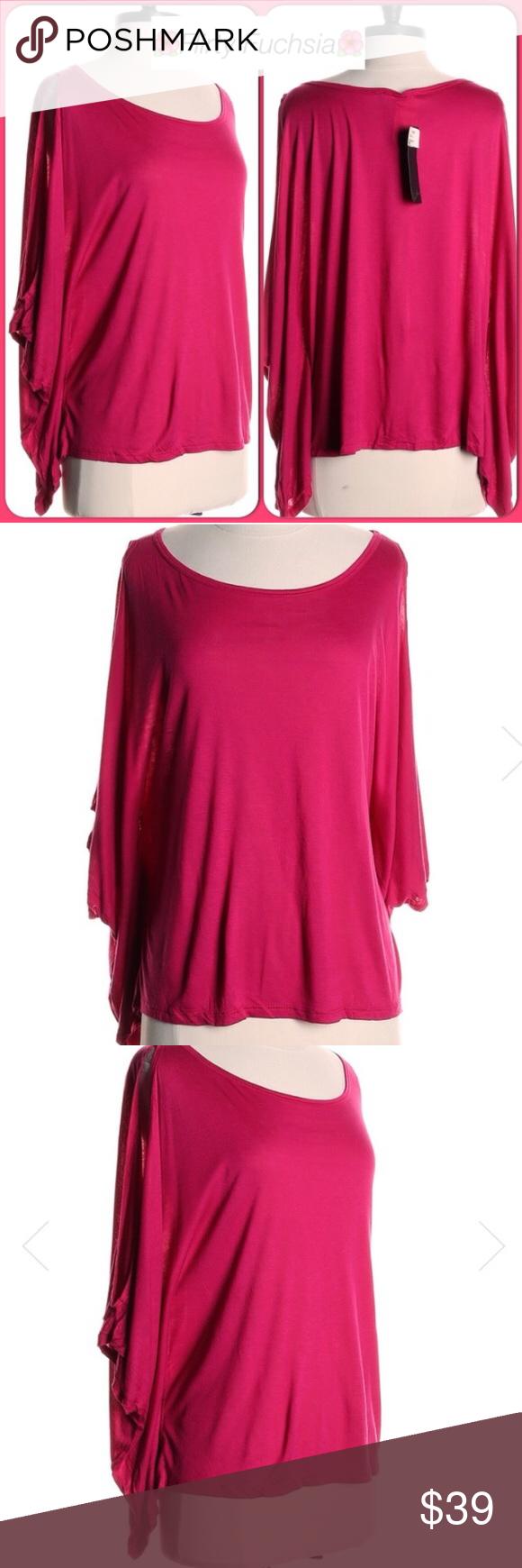 "NWT🌺Fuchsia Open Arm Kaftan Soft Modal Top🌺 🌺Flirty Fuchsia Open Arm Caftan Top🌺 Soft T-Shirt Feel Modal/Rayon Blend. Bust-46"" Length-24"" Lush Tops"