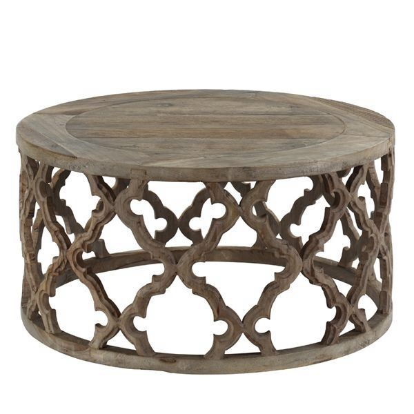 Moroccan Style Coffee Table In Reclaimed Elm Featuring Stunning