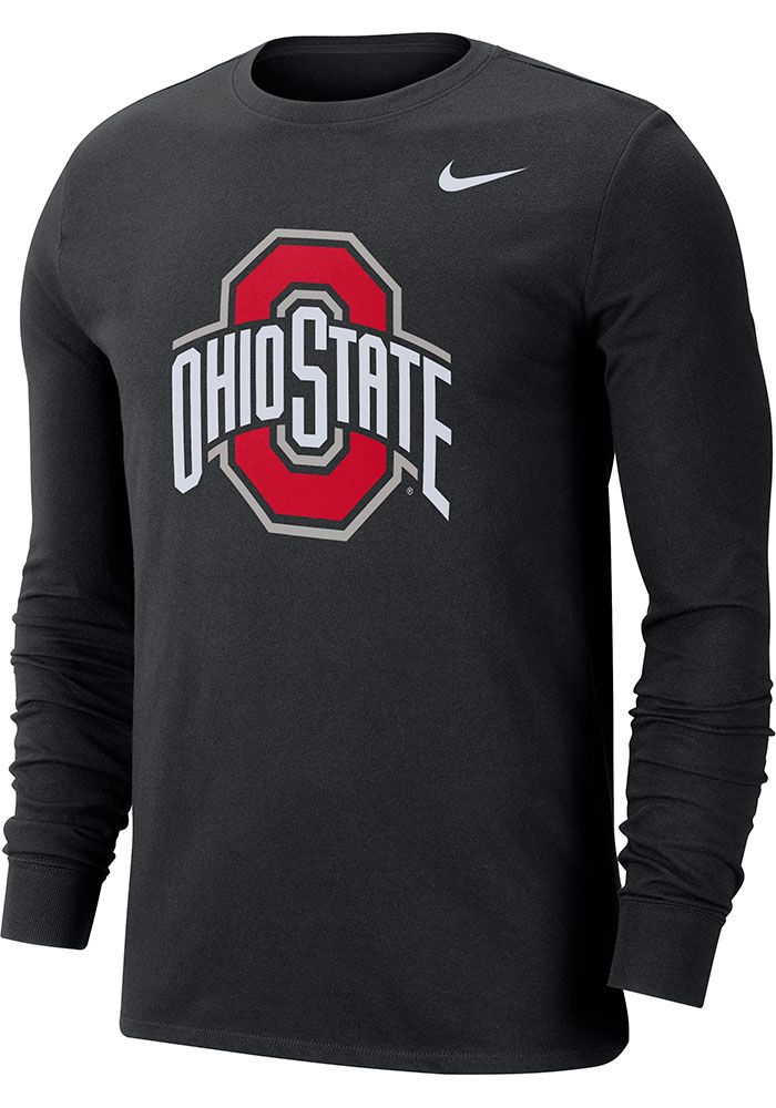 Nike Ohio State Buckeyes Black Logo Long Sleeve T Shirt, Black, 57% COTTON / 43% POL, Size XL #ohiostatebuckeyes
