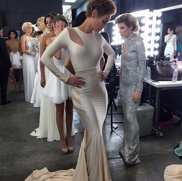 Walter collection, Walter Mendez , white long sleeve prom dress / gown mermaid