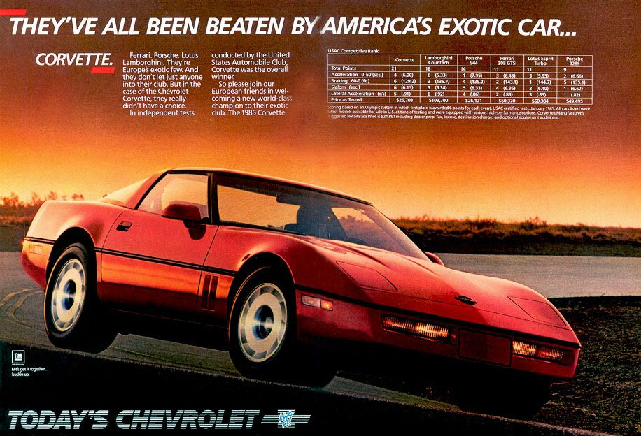 Corvette Ad Corvette Chevrolet 1985 Corvette