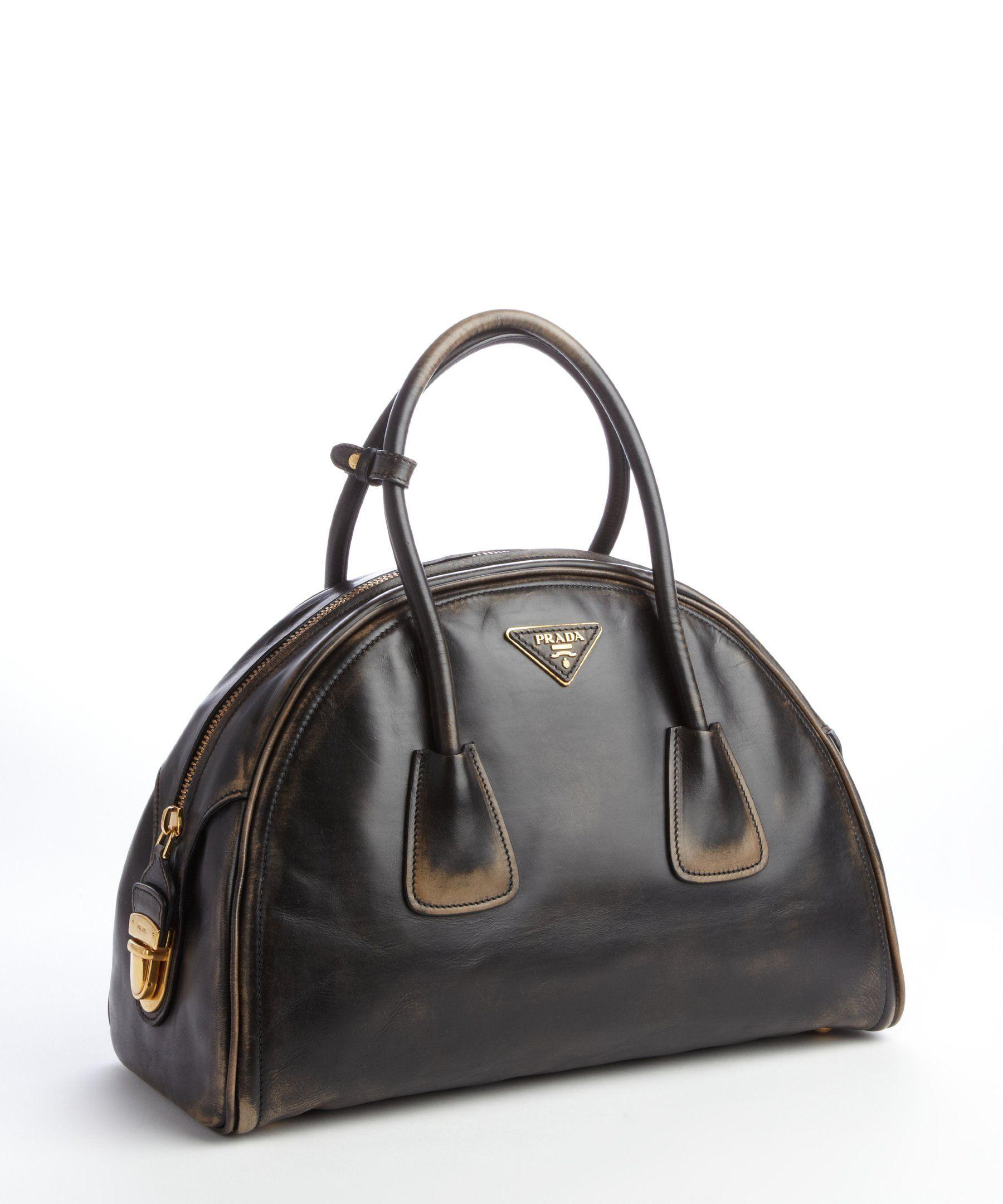 779bd82b7303 Prada black distressed leather bowler bag | BLUEFLY up to 70% off designer  brands