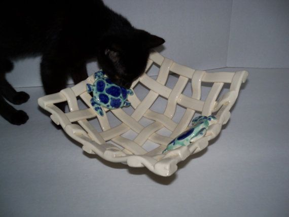 Woven Pottery Basket with sea turtles fruit by bowlswithholes