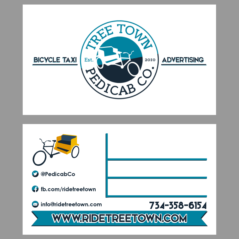 New business card design for pedicab drivers with space to write ...