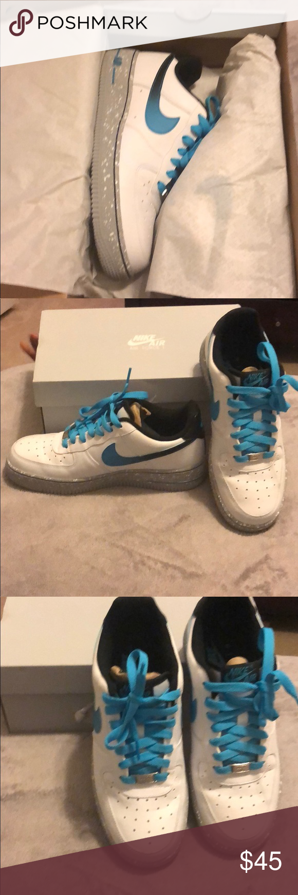 c2d7063d7acd0 Nike Air Force 1 Air Force 1 Color: White, Black, some Turquoise Size: 7  Youth (boys) fits women's 8/8.5 Worn Once - Like New Nike Shoes Athletic  Shoes
