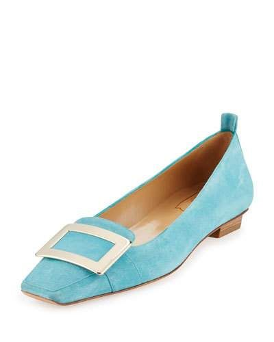 ROGER VIVIER SUEDE BUCKLE SLIP-ON FLAT, LAGUNA CHIARO. #rogervivier #shoes #flats