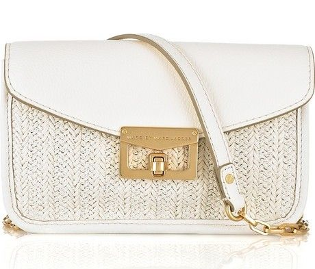 Marc Jacobs Jane on a Chain Leather and Raffia Bag,