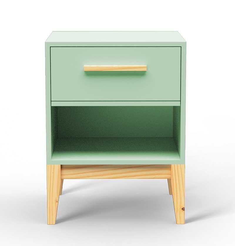 Mesa de Cabeceira Pine com Gaveta – Verde Claro