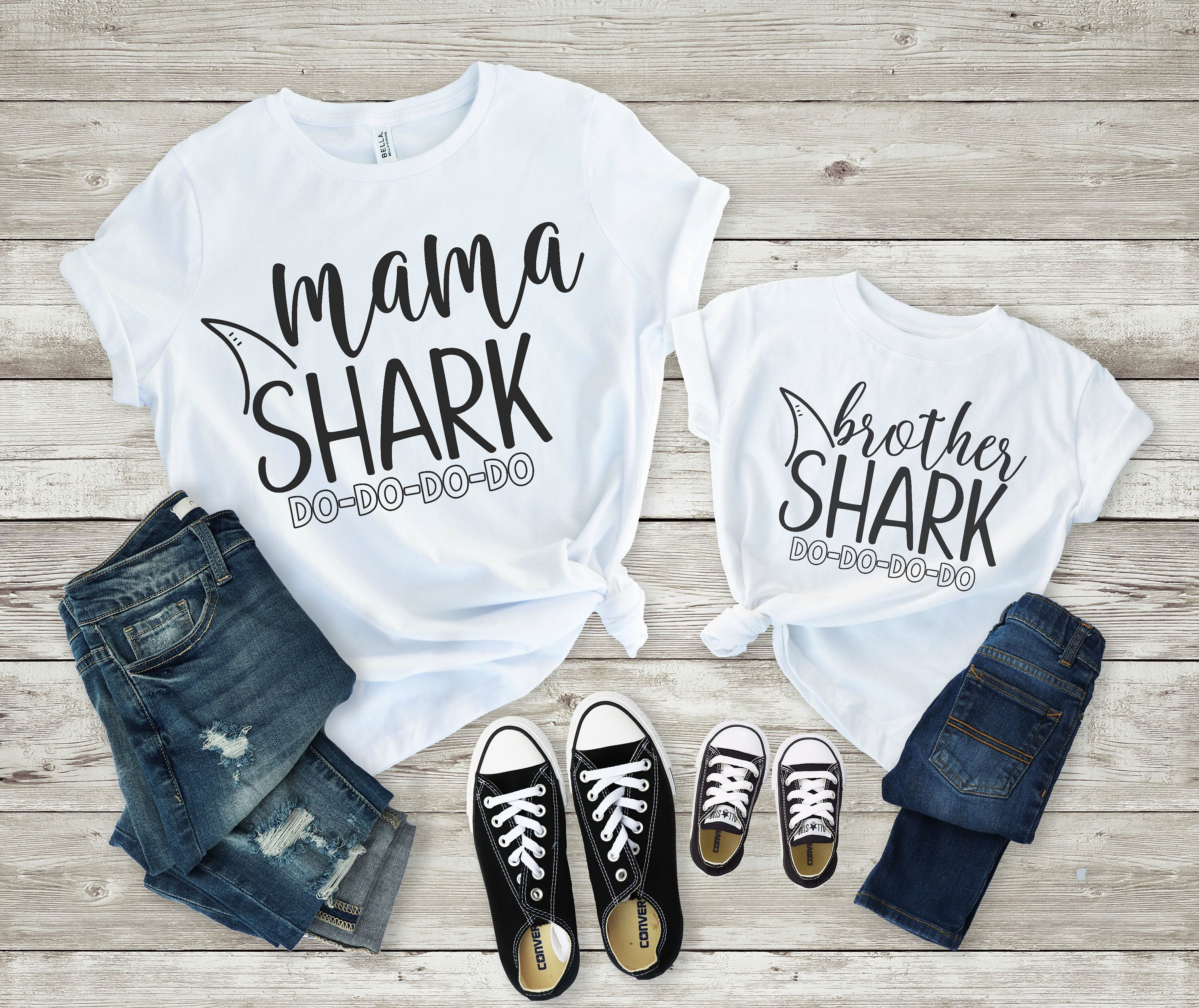 c40988d7 Excited to share this item from my #etsy shop: Mama Shark Brother Shark  Shirt, Baby Shark Family Shirt, Pregnancy Announcement, Mommy and Me Shirts,  Mommy ...