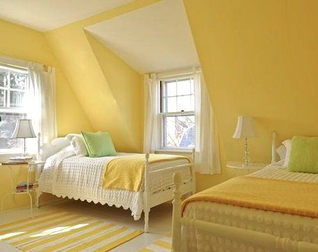 Kids Bedroom Yellow love the yellow and white.a few complimenting floor cushions and