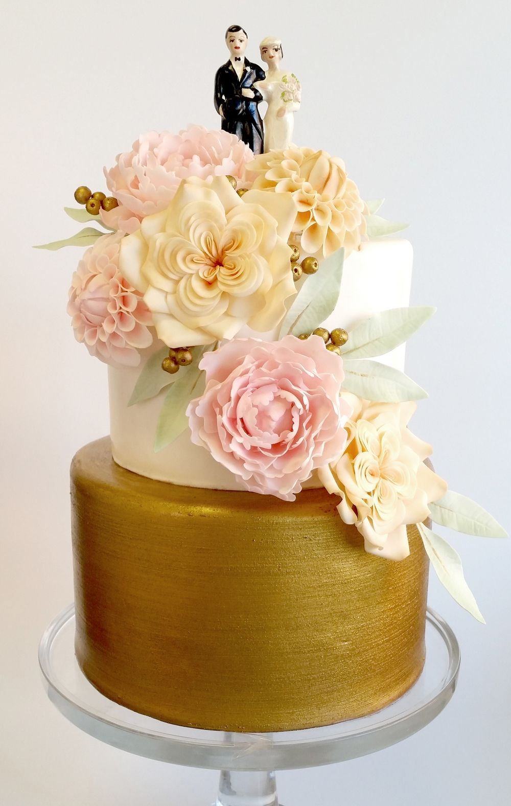 Petite wedding cake with brushed gold, cascading gum paste peonies ...