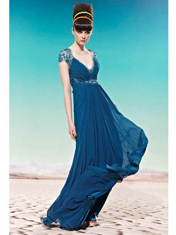 Romantische Chiffon A-Linie Abendkleider mit Spitze Ärmel ...