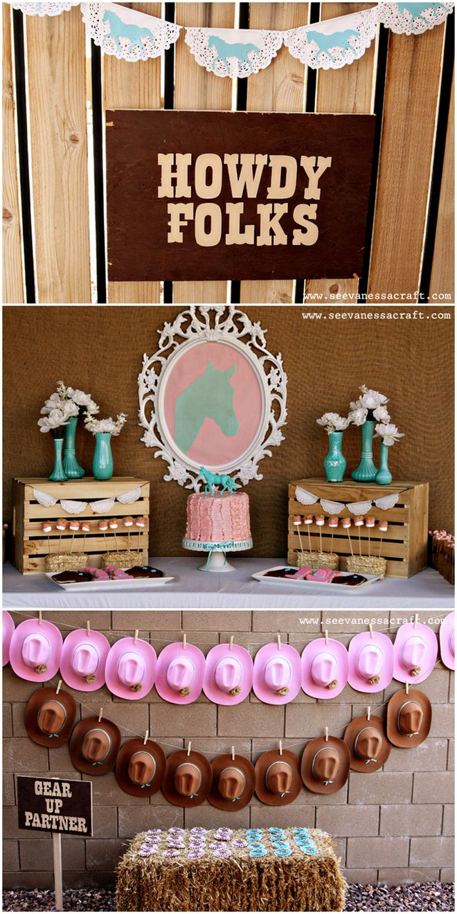 pink and aqua cowgirl themed birthday party ideen party. Black Bedroom Furniture Sets. Home Design Ideas