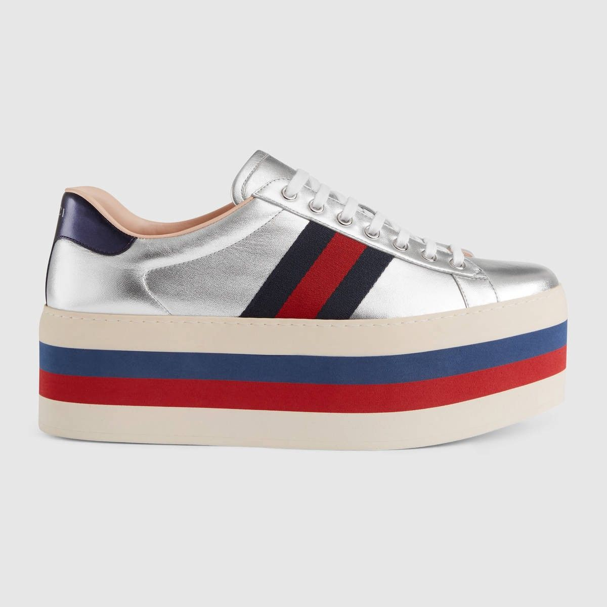 7d2837a5e31ba GUCCI Metallic platform sneaker - silver leather.  gucci  shoes ...