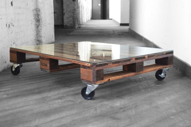 MODERN RECYCLED RUSTIC INDUSTRIAL RECLAIMED GLASS PALLET COFFEE TABLE WOOD