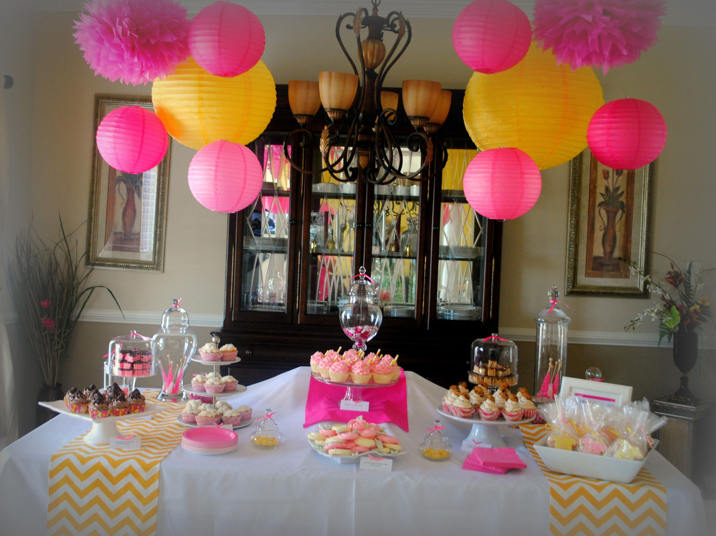 baby shower girl like yellow and hot pink