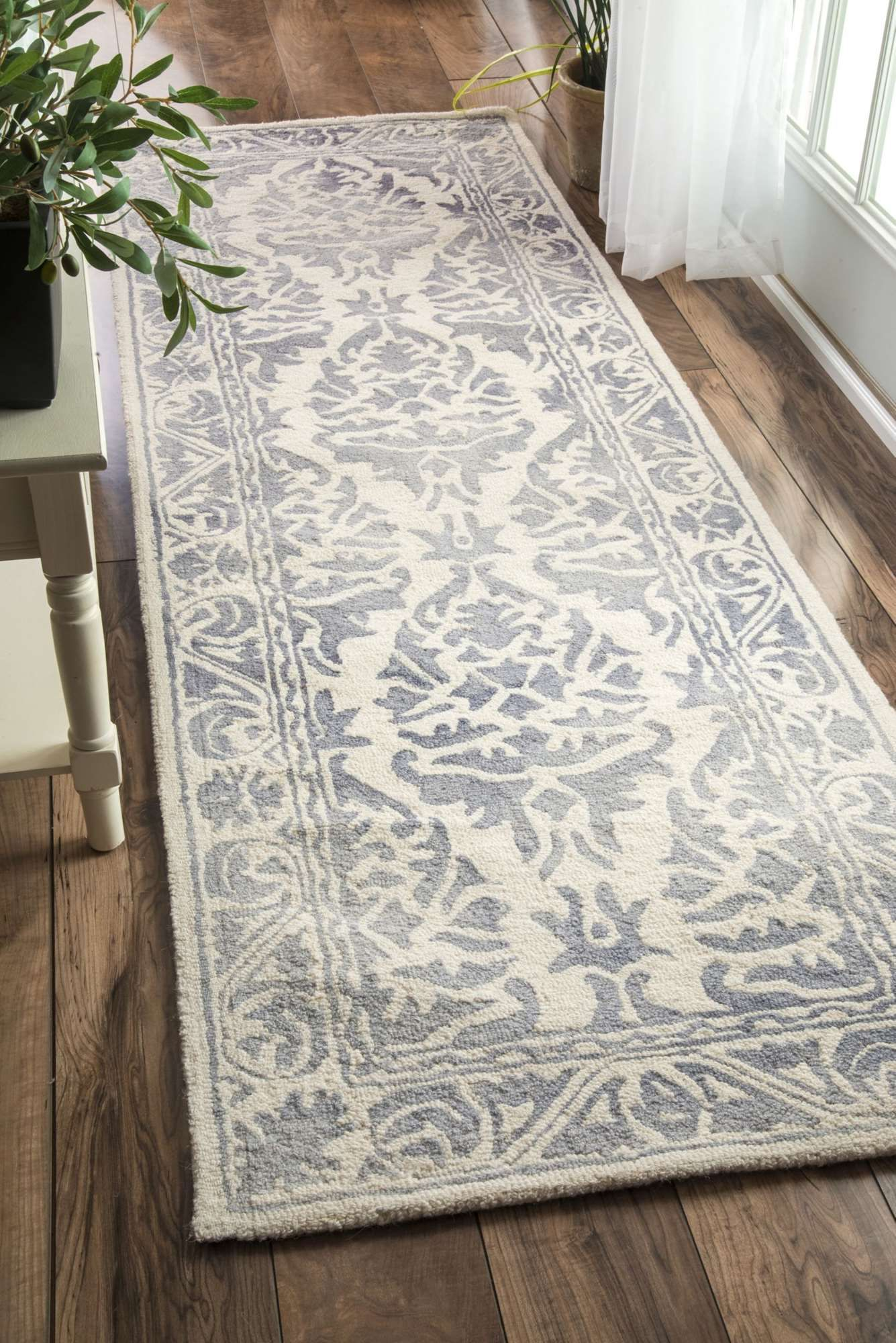 Suitable For High Traffic Areas The Dip Dyed Damask Border Rug Adds