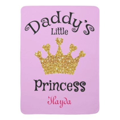 Daddys little princess gold baby girl name on baby blanket baby daddys little princess gold baby girl name on baby blanket baby gifts child new negle Image collections