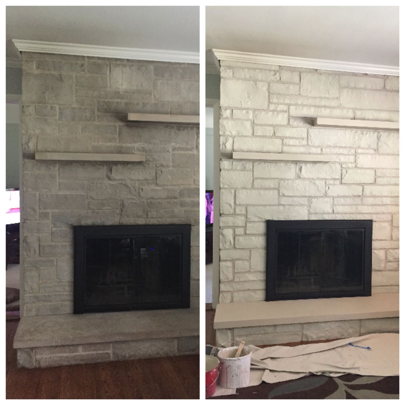 Stained Limestone Fireplace