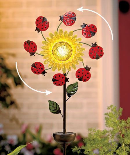 Solar Floral Windspinner Stake Is A Lively Accent For Your Garden. When The  Wind Blows, Cute Insects Spin Around The Bright Flower, Adding Color And ...