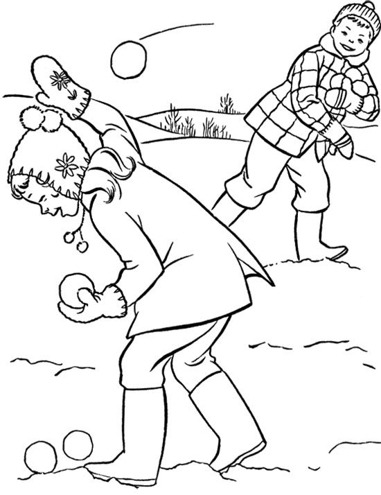 Playing Snowball Fight Coloring Page Coloring Pages Winter
