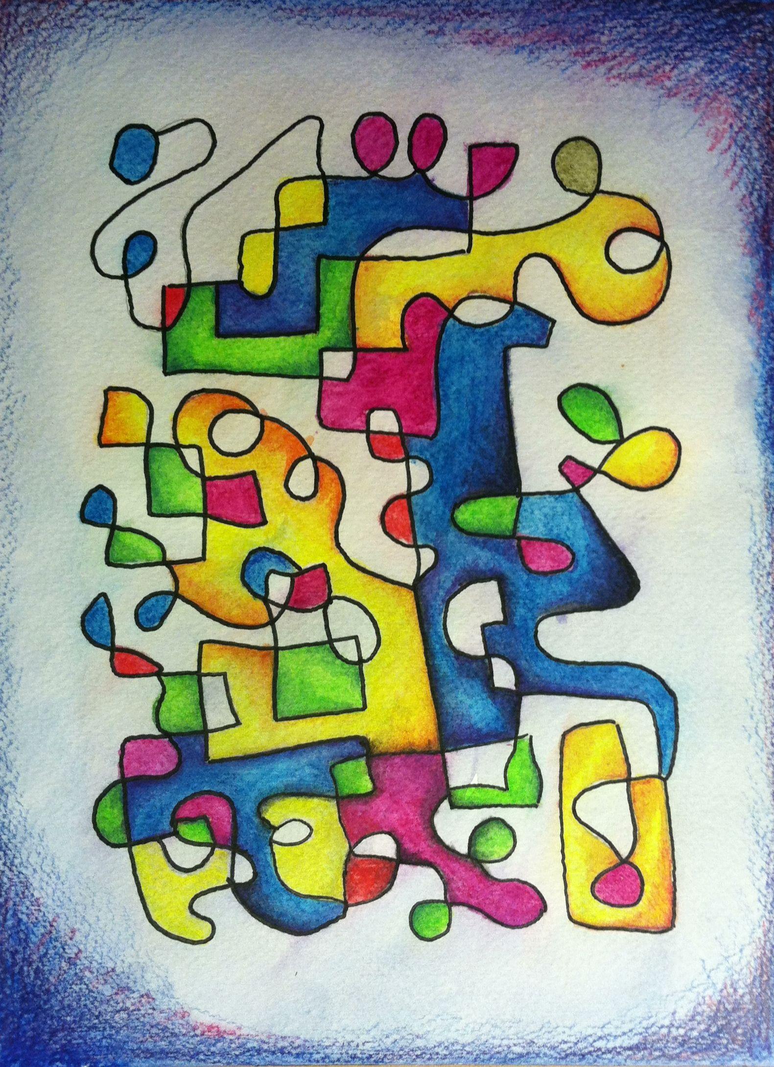 3. Piirrä mustalla tussilla yksi kiemurteleva, pitkä viiva. Täytä viivan muodostamat kuviot puuväreillä tai akvarellipuuväreillä.
