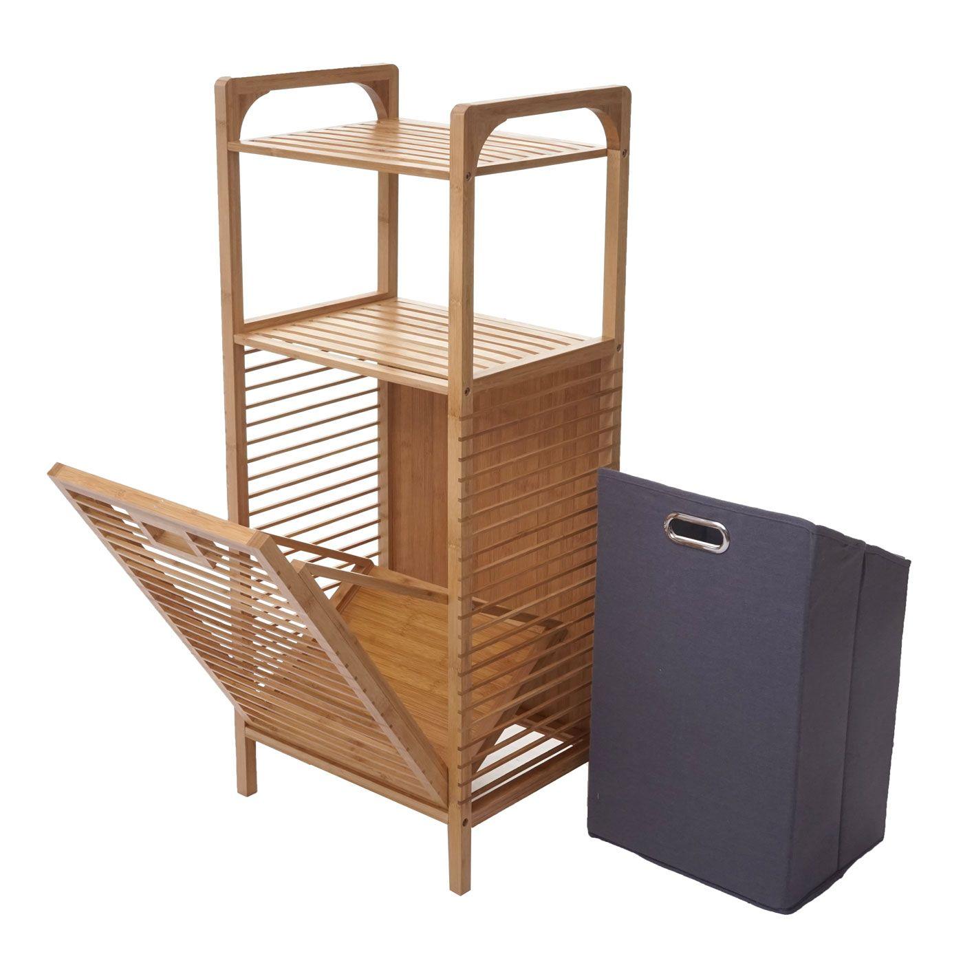 Regal mit Wäschekorb HWC B94, Wäschebox Wäschesammler