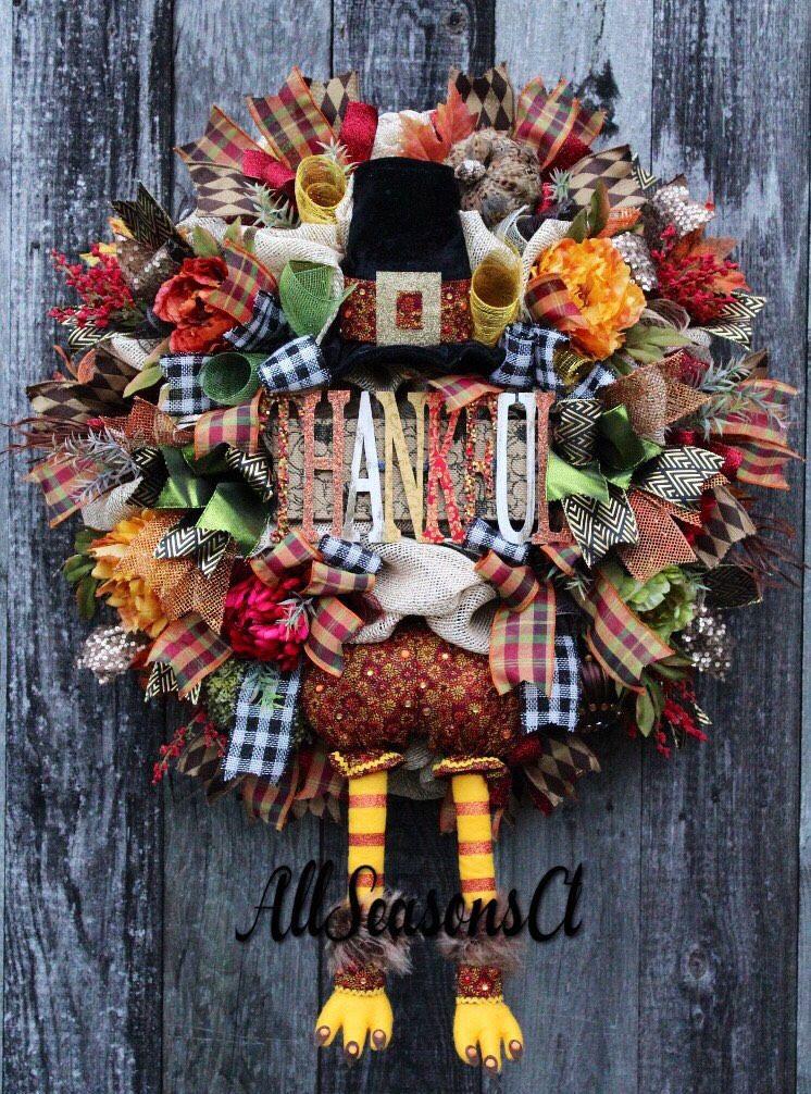 thankful mr turkey thanksgiving deco mesh wreath mesh wreath hat and legs