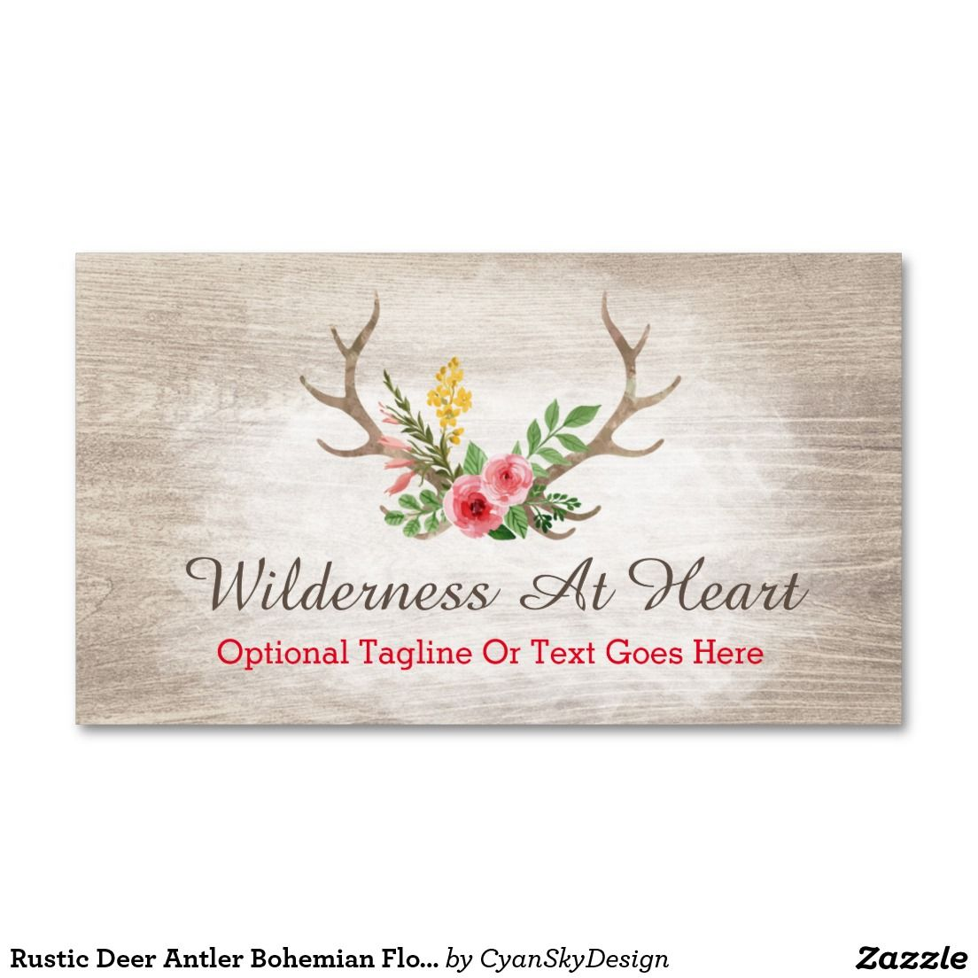 Rustic deer antler bohemian floral watercolor wood business card reheart Image collections