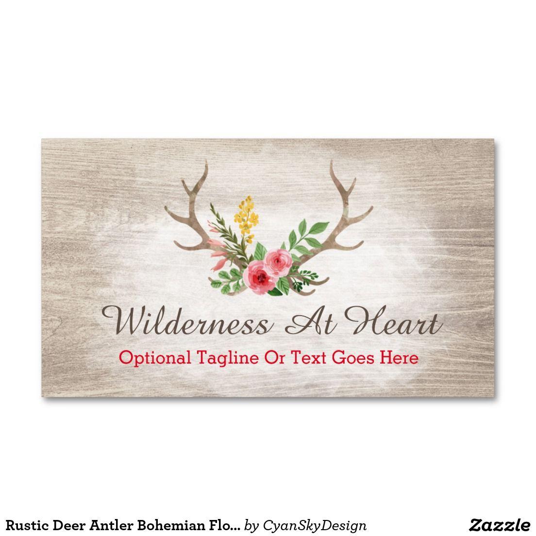 Rustic Deer Antler Bohemian Floral Watercolor Wood Business Card ...