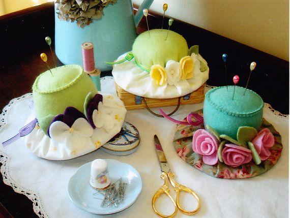 PATTERN - Milliner's Pins - pretty felt hat shaped pincushions PATTERN - May Blossom