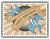 Birthday Card Happy Birthday Swallows Tattoo Style Art 50s Rockabilly Gree