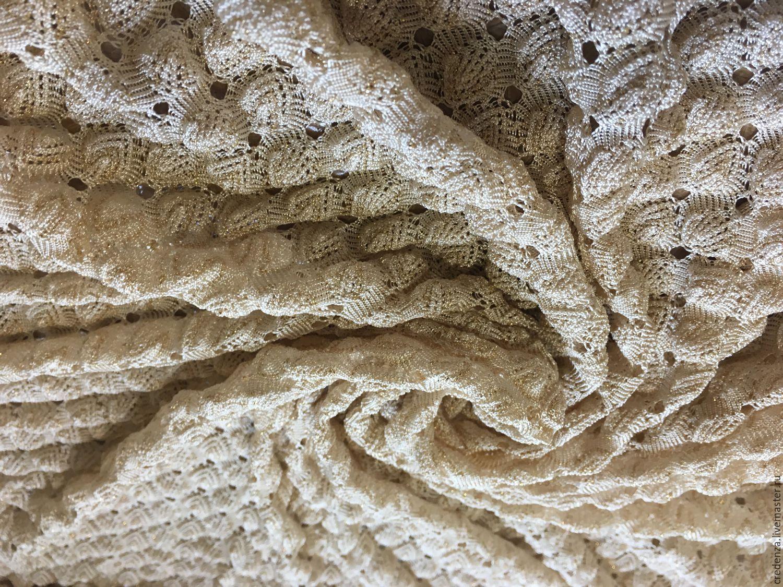 купить тонкое объемное вязаное полотно золотой ткань с люрексом